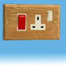 Varilight Kilnwood 45A Cooker Panel + 13A Switched Socket Limed Oak White Insert XK45PLOW